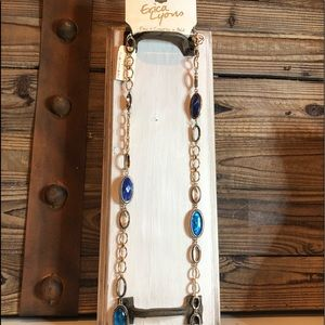 New Erica Lyons Blue and Antique Gold Necklace